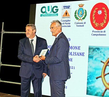 Il Presidente della Provincia di Campobasso, Francesco Roberti, col Presidente della FIGC, Gabriele Gravina